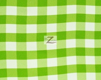 """Checkered Gingham Poly Cotton Fabric - LIME - 57""""/59"""" Width Sold By The Yard"""