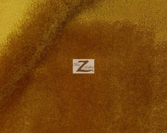 "Solid Benoti Velvet Upholstery Fabric - GOLD - 57"" Width Sold By The Yard"