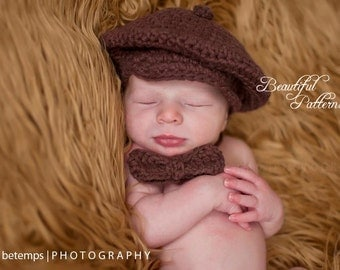 Crochet Hat PATTERN Baby Boy Newsboy Cabby Beanie Hat Bow Tie Visor PDF 330 Newborn to 24 Month Photo Prop Instant Download