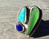SALE!!! // Green Seaglass, Lapis, and Turquiose Statement Ring