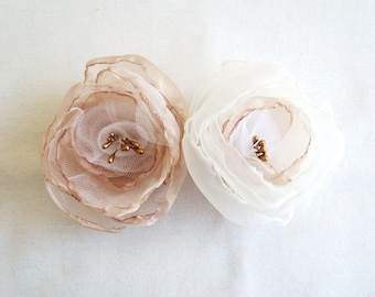Bridal Accessories Hair Clip Set of 2 Blush Gold Champagne White Ivory Organza Flower Wedding  Accessories Bridesmaid Hair Flower Girl Hair