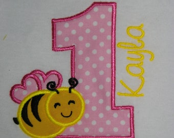 Personalized First Birthday Bumble BEE shirt in Hot Pink, Light Pink and Yellow Colors. Available in Short Sleeves
