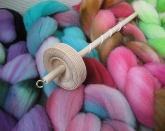 4oz Handpainted Beginner Spindle Kit Top Whorl - Fiber  Roving Drop Spindle