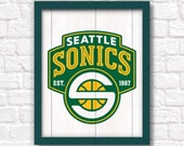 SEATTLE SONICS rustic wood sign - Sonics fan wall hanging Boys room Man cave decor - Fathers Day gift for Dad