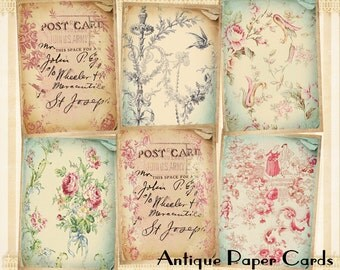 French style Greeting cards Gift tags Printable cards Digital backgrounds on Digital collage sheet Paper goods - ANTIQUE PAPER CARDS