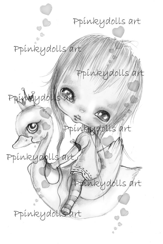 INSTANT DOWNLOAD Digital Digi Stamps..by Chrishanthi's art,Swan girl.