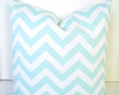 Baby Blue PILLOWS Baby Blue Decorative Throw Pillows Blue Chevron Pillows 16x16 18 20 Baby Boy Nursery Home and Living Home Decor