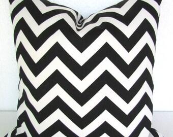 BLACK OUTDOOR PILLOW Cover Black Chevron Throw Pillow Covers Outdoor Pillows  16 18 20x20 Black Chevron