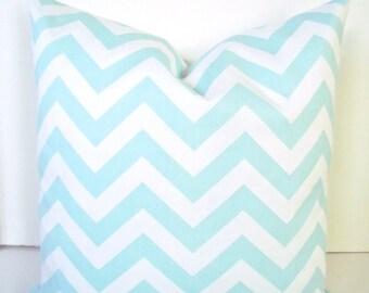 Baby Blue PILLOWS Baby Blue Throw Pillow Covers Blue Chevron Pillows 16x16 18 20 Baby Boy Nursery Home and Living Home Decor