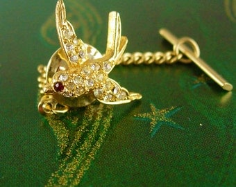 Pave Rhinestones Love Bird Tie Tack with Chain Vintage Gold  Jeweled Wedding Birthday