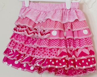 Little Girls Valentine Skirt Tiered Skirt Little Girls Ruffled Skirt Pink Ombre Skirt Ruffled Skirt Birthday Skirt, 12 months to Size 14