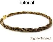 Beading Tutorial Pattern Bracelet Necklace - Twisted Herringbone Stitch - Simple Bead Patterns - Slightly Twisted #3731