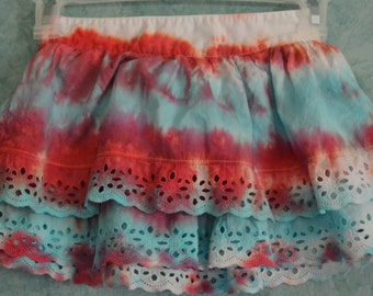 Girls' SIZE XS (4/5) Upcycled Patriotic Line Technique Tie-Dye Two-Tier Skirt with Lace Detail in Red, White & Light Blue