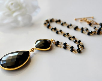 Rosary Style Black Onyx Pendant Necklace, Jet Black Gemstone,  Gold Vermeil, Black Onyx Jewelry, Black Spinel