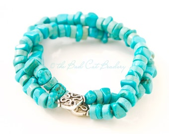 Blue Turquoise Chip and Silver Bead Stretch Stack Bracelets
