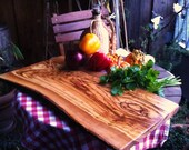 Olive Wood Cutting Board rectangular - very big - Olivenholzbrett -one side natural edge