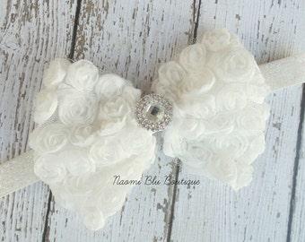 White Oversized Rosette Bow Princess Headband. Great photo prop, Birthday