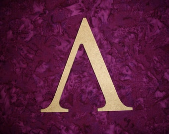 "Greek Letter Lambda Symbol Unfinished Wooden Letters 6"" Inch Tall Paintable"