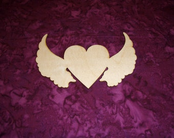 Heart With Angel Wings Wood Cut Out Unfinished Wooden Shapes