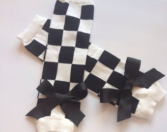 Baby Girl Checkered Legwarmers - race day legwarmers - baby legwarmers - toddler legwarmers - leg warmers