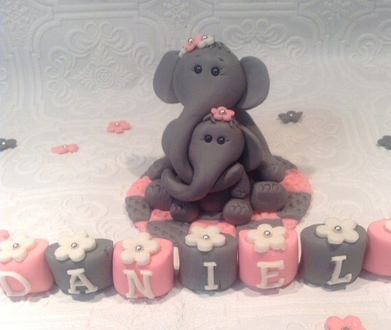 ELEPHANT BABY SHOWER Cake Topper Fondant edible by ...