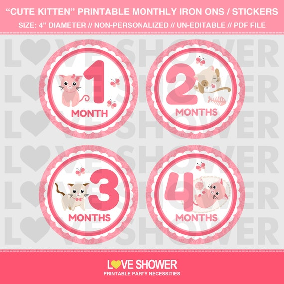 Cute kitten printable monthly stickers or iron on transfers do it il570xn solutioingenieria Choice Image
