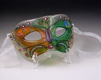 Butterfly design fused glass adult size mask sculpture