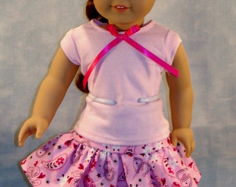 Pink and Silver Western Skirt Set, Hat and Boots, made to fit 18 inch dolls