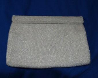 ON SALE  A Vintage White Beaded Bag