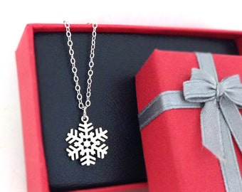 Tiny Snowflake Necklace in Silver, Crystal Snow, Holiday Gift, Christmas Gift
