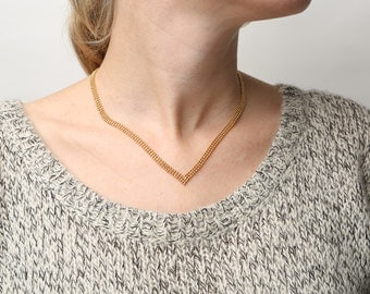 Dainty Gold Necklace V necklace Chevron necklace Delicate 24k gold plated jewelry.