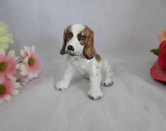 Rare Vintage 1940s Goldscheider USA Hand Painted Figurine Spaniel Dog Figurine - made in the USA