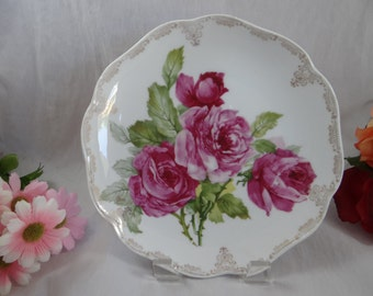 1900s Vintage Rosenthal Hand Painted Artist Signed Madeleine Pink Rose Cabinet Plate  - Charming