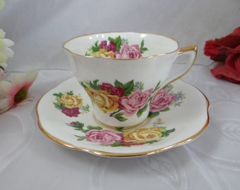 Reserved for Ahmed - Vintage Regency English Bone China Teacup Rose English Teacup and Saucer English Tea cup