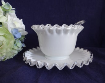 Fenton Silver Crest Crimped Mayonnaise Bowl with Underplate - NO Ladle - Gorgeous White Glass Dip Condiment Bowl