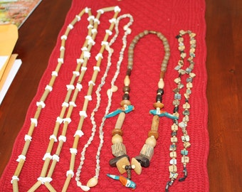 Lot 2  All Natural  Bamboo and Shell,  Wood With Carved Parrots, Abalone Squares and Tiny Sea Shells, cruise, beach, resorts