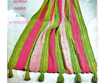 Digital Download Mid-Century Yummy Striped Knitted Afghan Pattern - Summery Colors with Cable Accents - Knitting Patterns Knitting Supplies