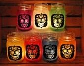 SET OF 8 Day of The Dead Sugar Skull Mason Jar Candle Holder