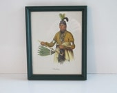 Native American Indian Framed Print Sioux Tribe, Portrait Nawkaw / Art Wall Hanging Rustic Lodge Cabin Farmhouse Country Western Cowboy