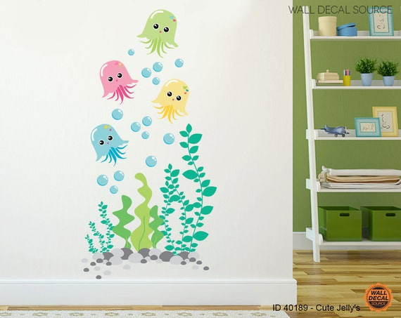Nursery Jellyfish Vinyl Decal - Bathroom Under the Sea Vinyl Stickers - Jellyfish Stickers - Jellyfish Decal - Jellyfish Wall Decal