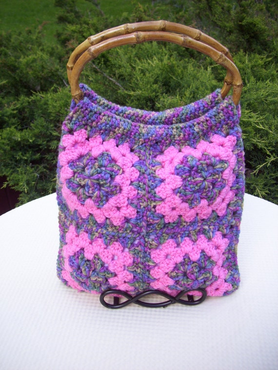 Crochet Bag Bamboo Handles Pattern : Crocheted Granny Square Tote / Bag / Purse / Lined / Pink
