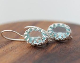 Aquamarine earrings, Silver drop earrings set with aquamarine zircon, drop earrings, Sterling jewelry