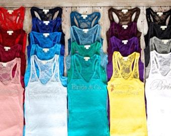 Bridesmaid Tank Top Shirt. Half Lace. Bride, Maid of Honor, Matron of Honor. Black, White, Sky Blue, Purple, Yellow, Fuchsia