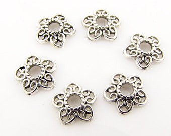 Bead caps, antique silver color,12 x 11.5mm, 3mm hole, 24 pieces
