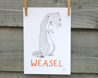 Animal print, WEASEL illustration with text.  Children's nursery bedroom wall art.
