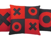 XOXO Red and Black Valentine Wool Felt Decorative Pillows (Set of 3) XOXO Pillow - SendASmooch