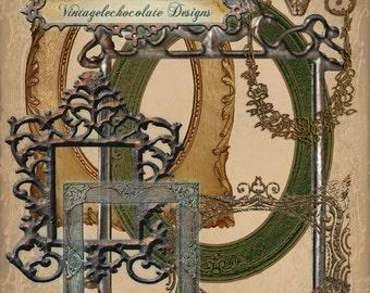 Digital Fancy Victorian Frames, Digital Vintage Frames, Vintage Scrapbook Supplies. No. e.8