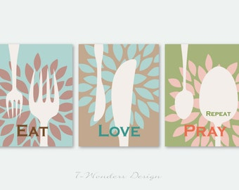 Kitchen Art Print Set - Eat Love Pray Repeat - Set of (3)  Prints - Multi-Sizes Available // Modern Colors // Modern Kitchen Decor