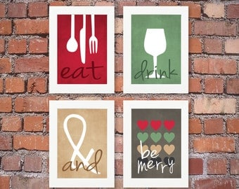 Modern Kitchen Art Prints - Eat Drink & Be Merry Set of (4) 4 x 6, 5 x 7 OR 8 x 10 // Maroon, Red, Kiwi, Tan, Gray // Kitchen Art - Unframed