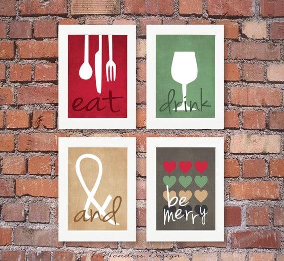 Art Prints For Kitchen Wall: Modern Kitchen Art Prints Eat Drink & Be Merry Set Of 4 4
